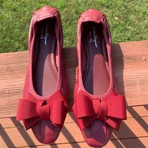 Salvatore Ferragamo Red Ballet Flats RARE